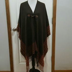 Catherine's Buttoned Fringed Poncho